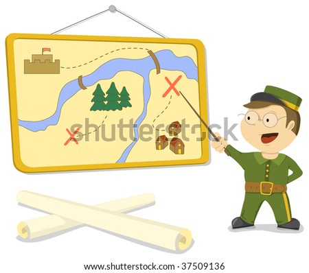 Soldier explains plan of action on the map. Vector image ストックフォト ©
