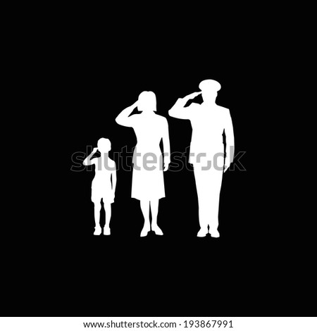 soldier family salute  isolated