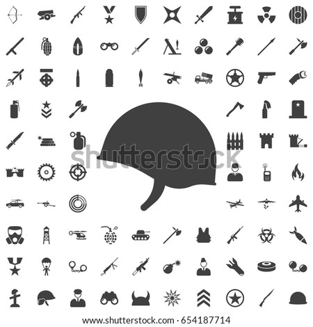 Soldier helmet icon isolated on white background. Set of weapon icons