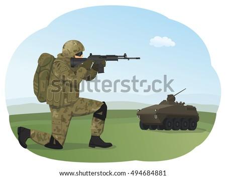 soldier in uniform is standing