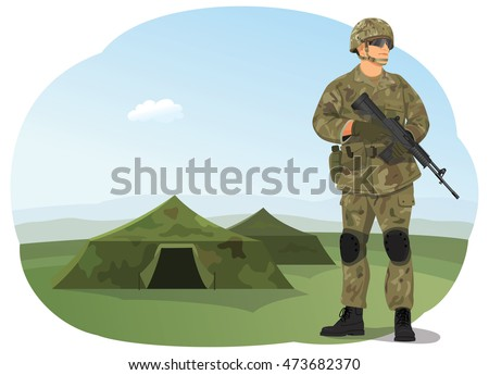 soldier in uniform  ready to