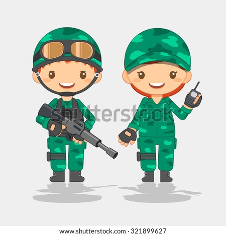 soldier  man and woman