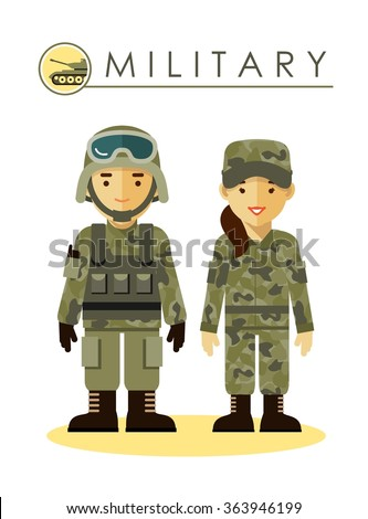 soldier man and woman in