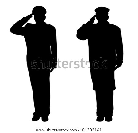 Soldier, officer, captain, policeman, sailor or firefighter saluting (vector)