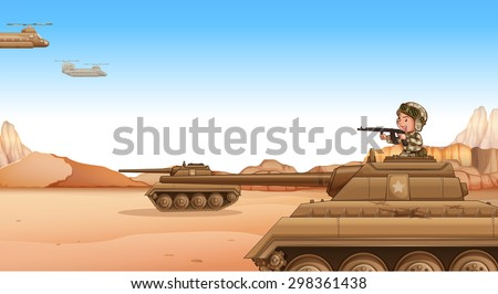 soldier on a tank fighting in