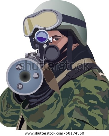soldier prepares to fire an