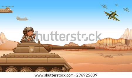 Soldier riding a tank at the battle field Zdjęcia stock ©