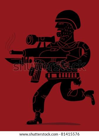 soldier running with a modern assault rifle