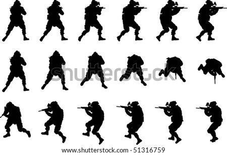 soldier silhouette in different