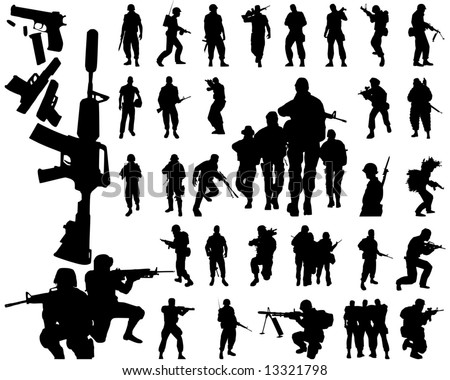 soldier silhouettes and arms - stock vector