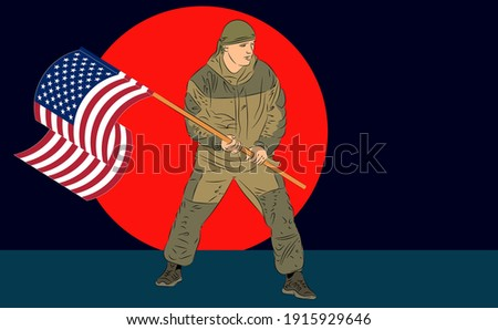 soldier waving an american flag
