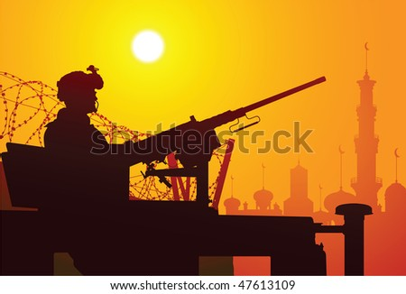 soldier with a machine gun