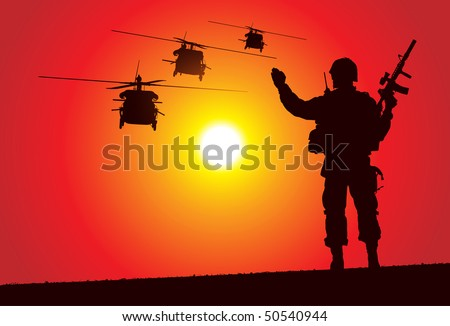 soldier with helicopters on the