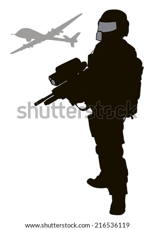 soldier with modern weapon and