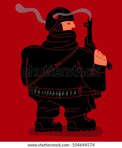 soldier with smoking gun trough