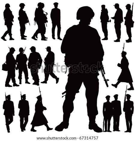 soldiers and police vector