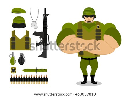 soldiers and weapons set of