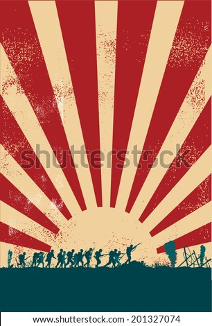 soldiers at war silhouette