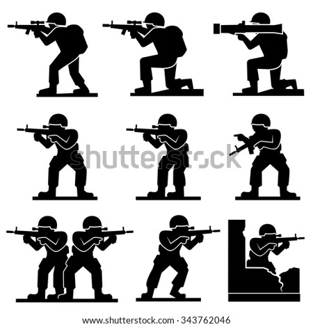 soldiers icons vector