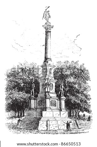 Soldiers\' Monument, Worcester, Massachusetts, USA, during the 1890s, vintage engraving. Old engraved illustration of Soldiers\' Monument. Trousset encyclopedia (1886 - 1891).