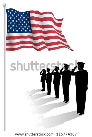 soldiers saluting in front of