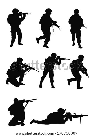 soldiers silhouettes set
