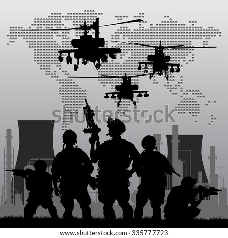 soldiers with oil plant on the sunset and on world map background