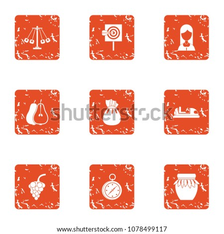 Solemn icons set. Grunge set of 9 solemn vector icons for web isolated on white background
