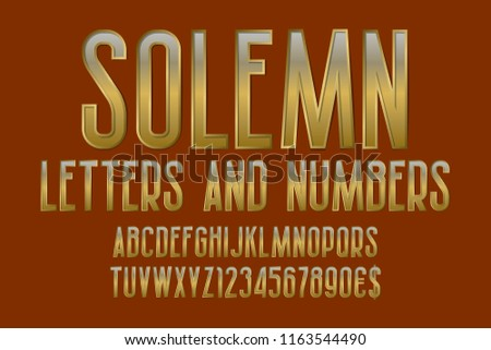 Solemn letters and numbers with currency signs. Golden font.