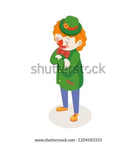 Solemn listening waiting clown isometric circus fun joke party character isolated cartoon design vector illustration