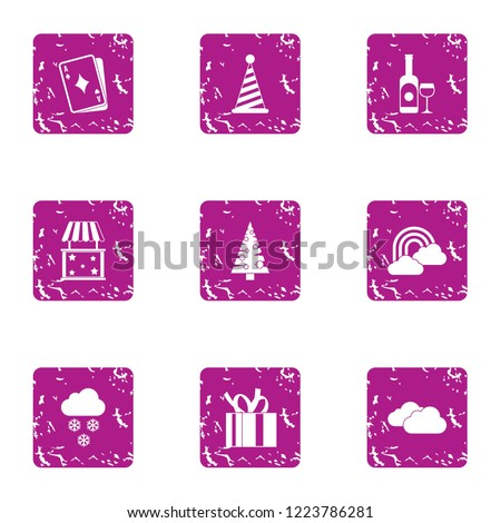 Solemnity icons set. Grunge set of 9 solemnity vector icons for web isolated on white background