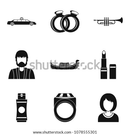 Solemnization icons set. Simple set of 9 solemnization vector icons for web isolated on white background
