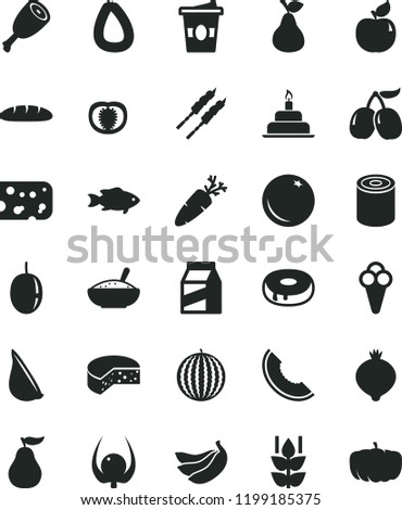 solid black flat icon set birthday cake vector, package, stick of sausage, piece cheese, loaf, tin, with a hole, bowl rice porridge, chicken thigh, barbecue, garlic, carrot, fish, coffe to go, cone Imagine de stoc ©