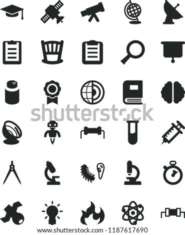 solid black flat icon set cradle vector, powder, test tube, microscope, telescope, atom, zoom, bulb, brain, satellite, bactery, book, globe, flame, graduate hat, clipboard, drawing compass, medal
