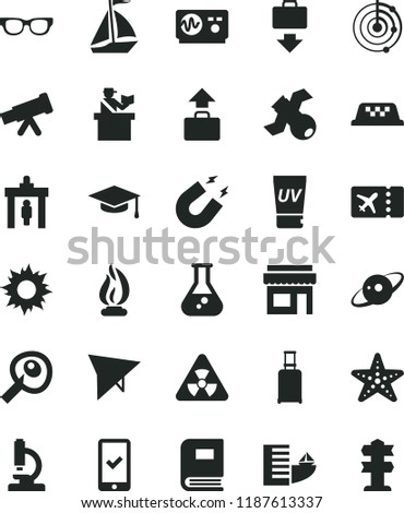 solid black flat icon set flask vector, microscope, telescope, glasses, nuclear, satellite, book, oscilloscope, magnet, flame, graduate hat, artifical insimination, radar, saturn, sail boat, taxi