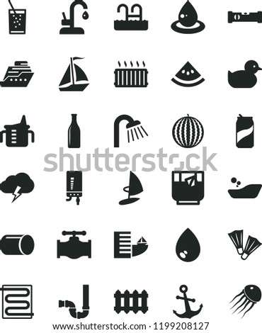 solid black flat icon set measuring cup for feeding vector, baby duckling, children's bathroom, shower, siphon, construction level, heating coil, new radiator, kitchen faucet, electronic boiler, tea Photo stock ©