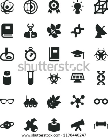 solid black flat icon set powder vector, unpacking, test tube, telescope, molecule, atom, glasses, dna, bulb, satellite, book, biohazard, scientist, graduate hat, artifical insimination, earth core