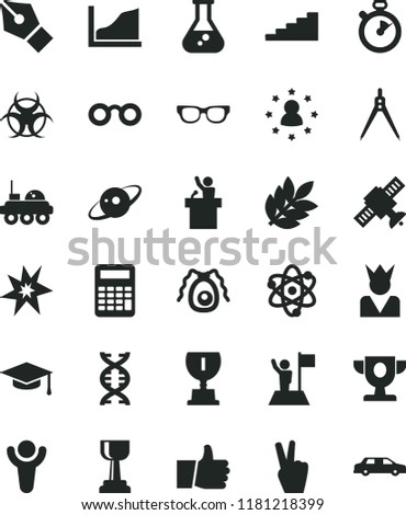 solid black flat icon set thumb up vector, flask, atom, glasses, dna, satellite, bactery, biohazard, graduate hat, calculator, drawing compass, growth graph, saturn, lunar rover, biology, stopwatch