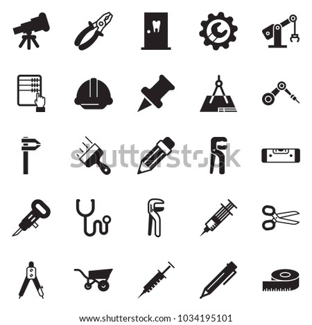 Solid black vector icon set - abacus vector, pen, scissors, drawing compass, putty knife, wrench gear, helmet, construction level, jackhammer, pliers, adjustable, wheelbarrow, manufacture robot, pin