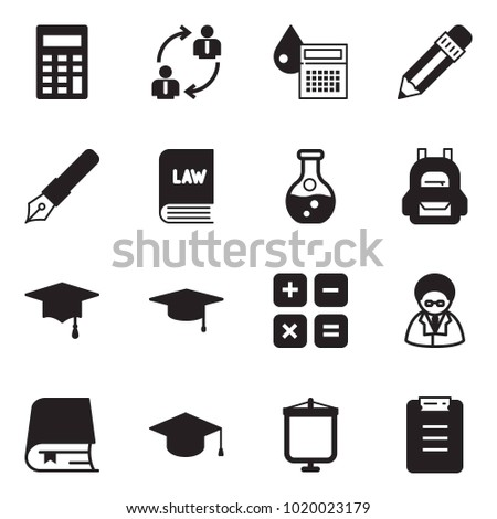 Solid black vector icon set - calculator vector, employ exchange, drop, pencil, ink pen, law, flask, backpack, graduate hat, scientist, book, presentation board, clipboard