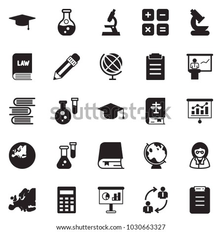 Solid black vector icon set - calculator vector, presentation, employ exchange, pencil, law, flask, europe, microscope, globe, graduate hat, scientist, book, clipboard