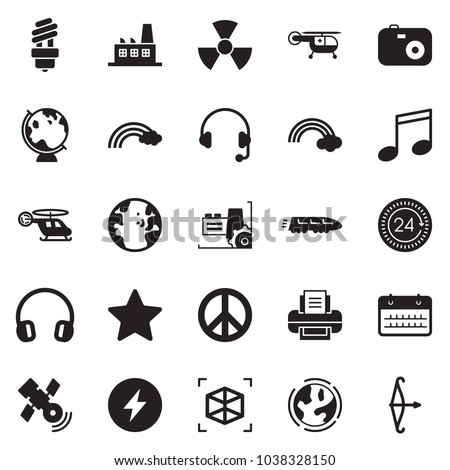Solid black vector icon set - calendar vector, headphones, 24 hours, factory, pacific, rainbow, earth, bulb, nuclear, train, medical helicopter, globe, satellite, 3d cube, power, star, music, camera