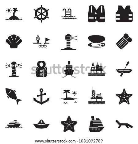 Solid black vector icon set - chasm vector, paper ship, fish, offshore oil platform, cruiser, lighthouse, shell, starfish, island, life vest, anchor, canoe, pool, handwheel, inflatable mattress