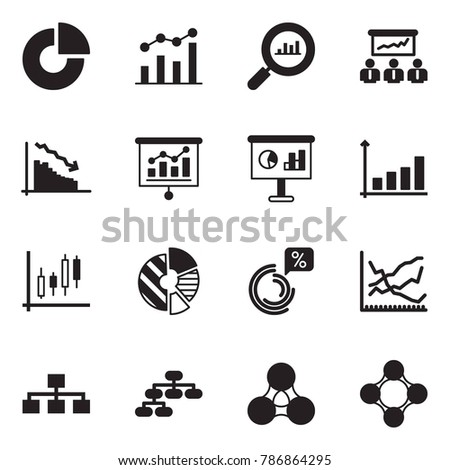 Solid black vector icon set - circle chart vector, finance monitoring, meeting, crisis, presentation, growth, Japanese candles, line, hierarchy, social, friends