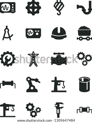 Solid Black Vector Icon Set - crane vector, hook, sewerage, construction helmet, gear, valve, power line, tower, pipes, robot welder, caliper, trolley with coal, gears, three, oscilloscope, resistor