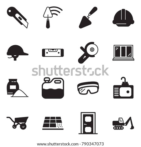 Solid black vector icon set - cutter vector, trowel, helmet, construction level, angle grinder machine, window, cement bag, canister, protective glasses, sink, wheelbarrow, tile, door, excavator