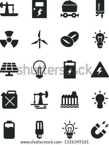 Solid Black Vector Icon Set - danger of electricity vector, incandescent lamp, dangers, electronic boiler, coffee beans, charge level, charging battery, solar panel, oil derrick, working, windmill