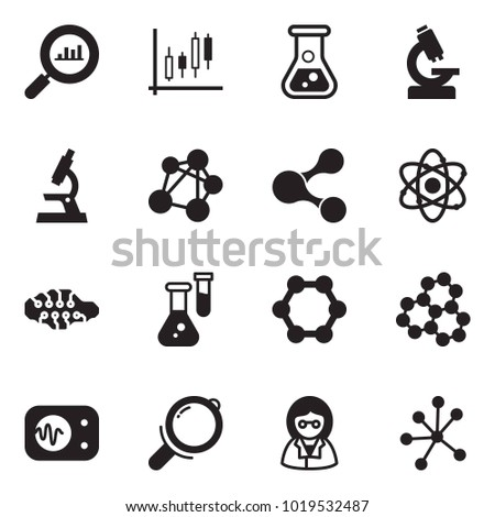 Solid black vector icon set - finance monitoring vector, Japanese candles, flask, microscope, molecule, atom, neural network, measurement, magnifier, scientist