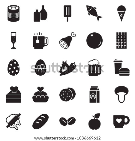Solid black vector icon set - fish vector, ice cream, bread, ham, chocolate, canned food, milk, fast, tea cup, champagne, bear, mushroom, coffee seeds, rolling pin, orange, cookies, hot pepper
