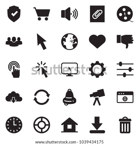 Solid black vector icon set - globe vector, home, cursor, hand, browser, monitor, gear, settings, volume max, shield check, download, group, lifebuoy, attachment, cloud, time, refresh, heart, bell